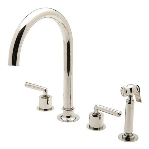 three hole kitchen faucets discover henry three hole gooseneck kitchen faucet metal