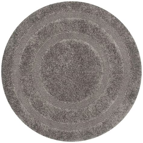 Safavieh Florida Shag Gray 4 Ft X 4 Ft Round Area Rug 4 Foot Area Rugs
