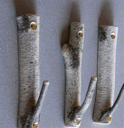 hooks for tree decorations set of 3 birch branch hooks rusic home decor