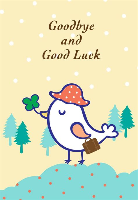 luck greeting card template free printable goodbye and luck greeting card