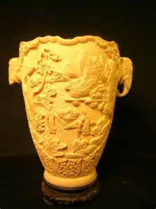 355 asian carved faux ivory vase on stand 1308805