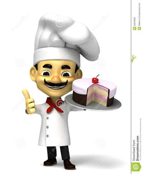 Italian Kitchen Designers 3d Cute Chef With Cake Royalty Free Stock Photo Image