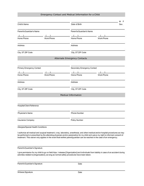 emergency information template 7 best images of printable employee emergency contact list