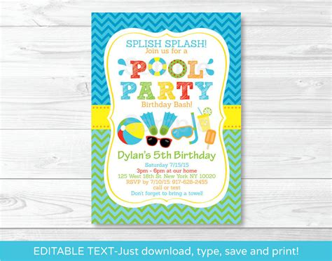 free birthday invitation pdf boys pool printable birthday invitation editable pdf