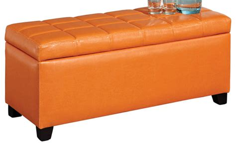 orange leather bench leather storage bench orange transitional accent