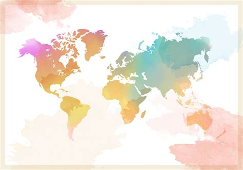 water color map watercolor world map vector free vector