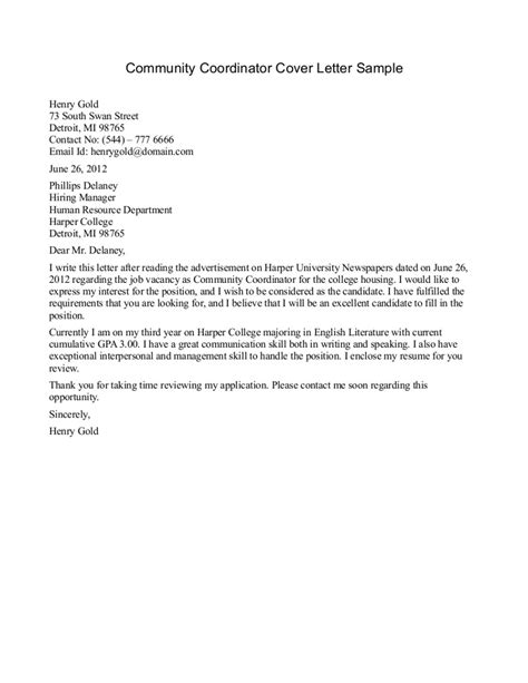 Community Service Experience Letter cover letter for student services position