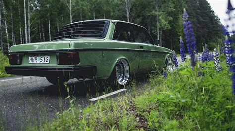volvo car wallpaper hd volvo car road nature volvo 240 green wallpapers hd