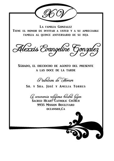 invitations templates for quinceaneras in spanish spanish quincea 241 era invitations the green latina
