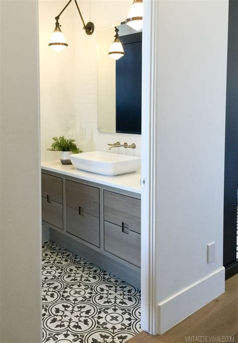 save or splurge black white floor tile