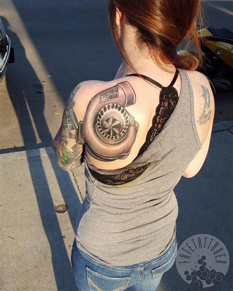 turbo heart tattoo creative human made with car parts with turbo