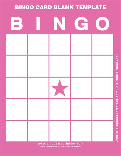 Large Card Template Printable by Bingo Card Blank Template Bingocardprintout