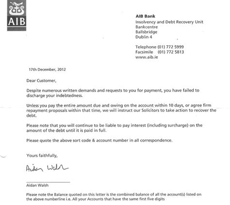 Letter From Bank Banks Send Out Threatening Letters