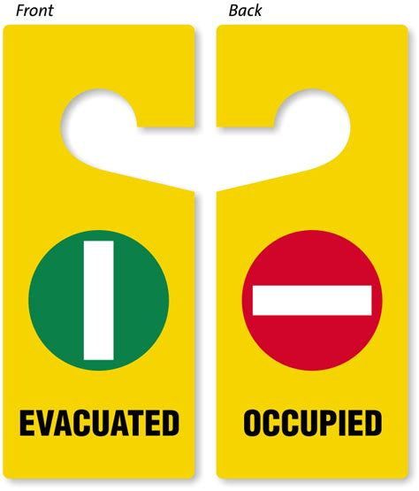 bathroom occupied signs evacuated occupied door hanger two sided door hang tags sku tg 0932