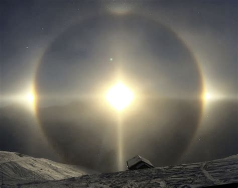 sun dogs how or common are haloes sun dogs etc a review of the