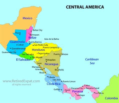 free coloring pages of central america map
