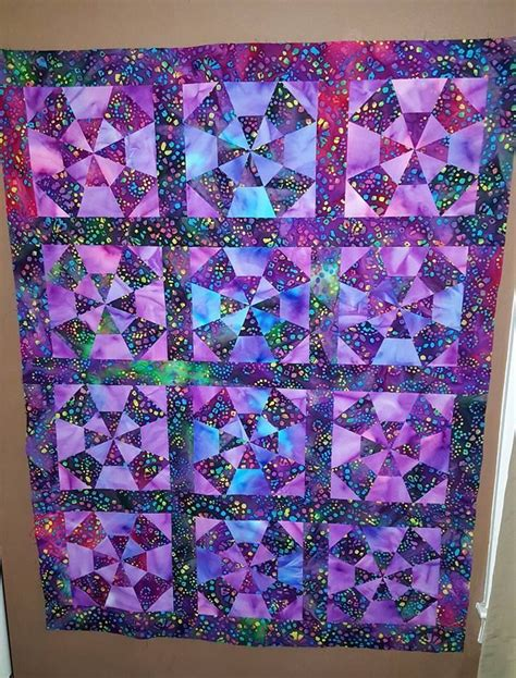 Quilts Fabric by Beautiful Kaleidoscope Finished Quilt Top Multi Tone Batik
