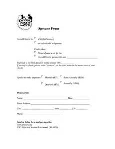 blank sponsorship form template sponsorship form template blank