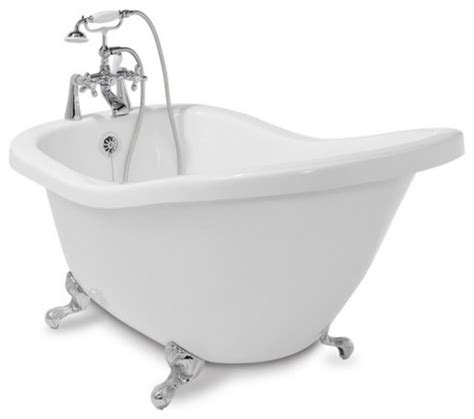 bathtubs at lowes shop american bath factory 59 quot l x 31 quot w white with chrome feet tub at lowes com