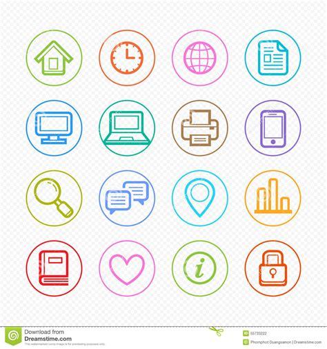 color symbols office elements symbol color line icon set on white