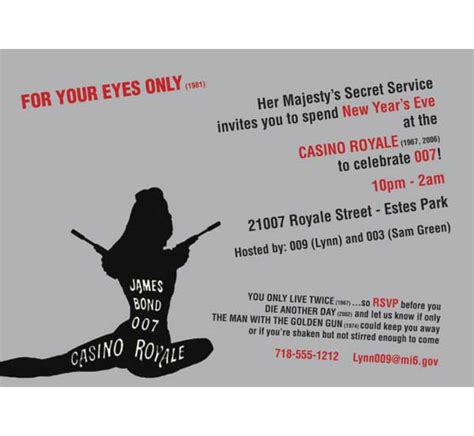 Casino Royale 007 Bond Invitation Free Bond Invitation Template