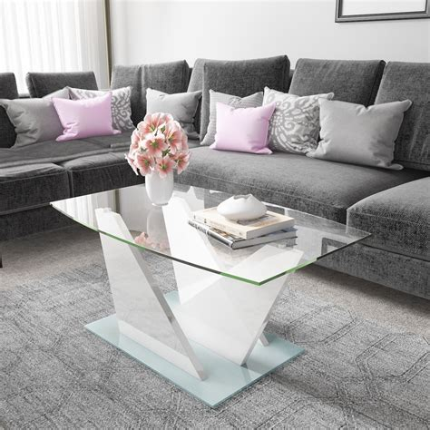 white gloss glass coffee table glass coffee table with white high gloss stand