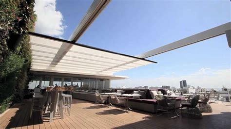 Sign Awning En Fold Retractable Fabric Roof Youtube