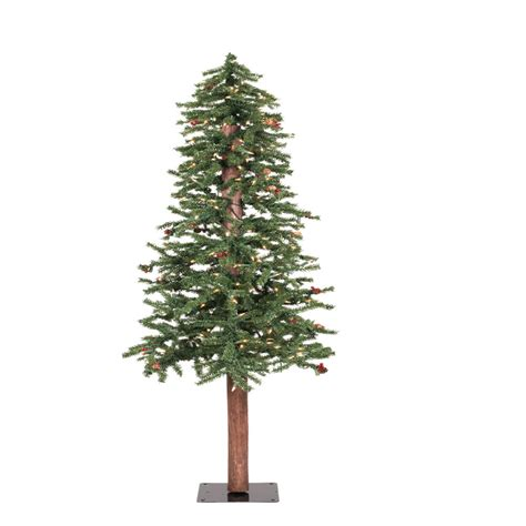 7 ft frosted alpine red berry pine cone clear lights