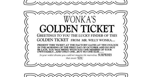 willy wonka golden ticket invitations charlie and the