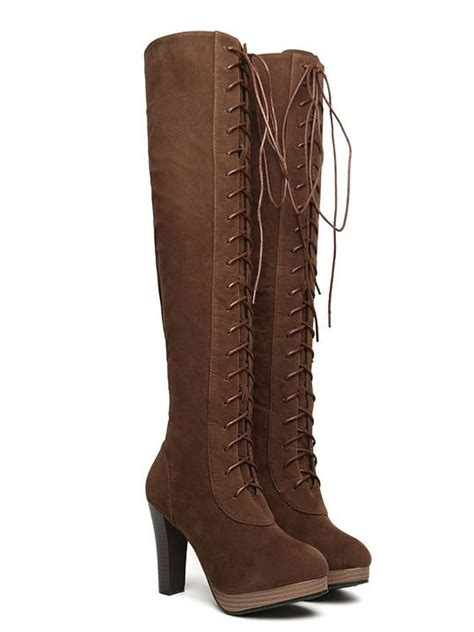 fashion lace up chunky heels knee high boots