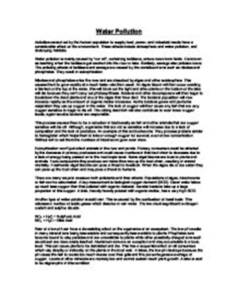 Water Pollution Essay Title by Water Pollution A Level Science Marked By Teachers