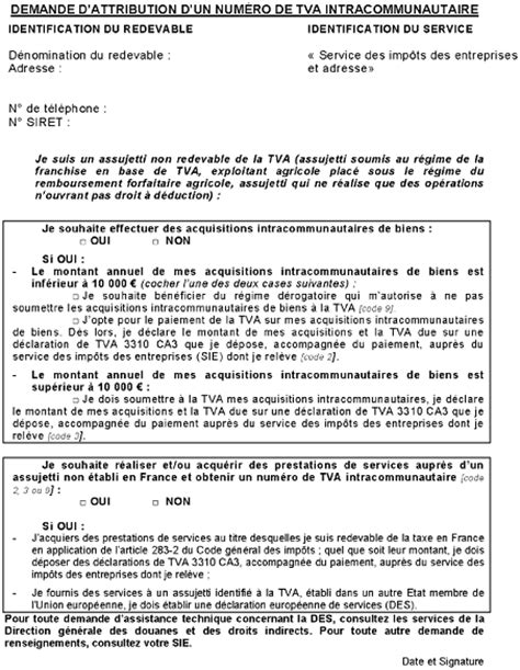 Demande De Franchise Lettre Tva Obligations Des Assujettis Obligations Et Formalit 233 S D 233 Claratives Le Num 233 Ro Individuel