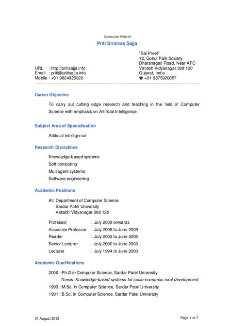 Resume Sles For Lecturer In Engineering College Dr Priti Srinivas Sajja Cv