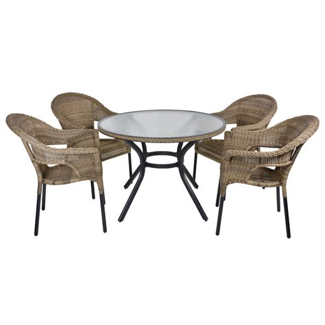 4 Seat Dining Table Set Rattan Wicker Dining 4 Seat Garden Patio Furniture Table Chairs Set Ebay
