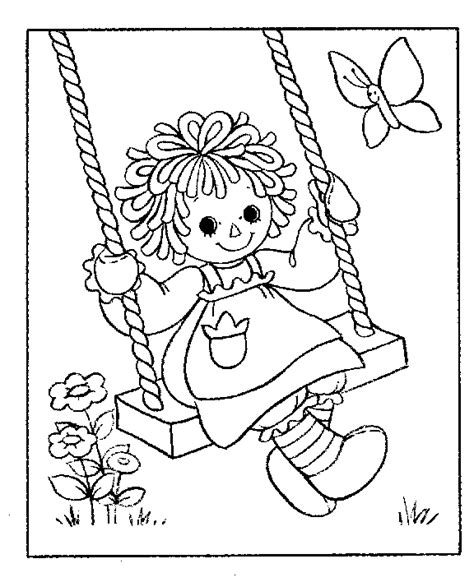 raggedy ann on a swing coloring page coloring