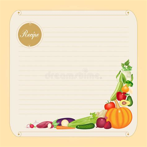 recipe card decoration template blank recipe card template in vector format stock vector
