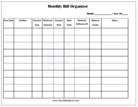monthly organiser template free printable monthly bill organizer http teachme2save