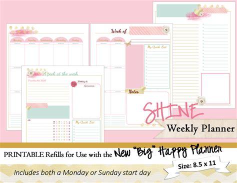 printable weekly planner retro big happy planner printable weekly planner inserts
