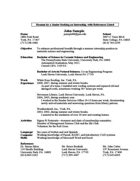 resume format for year arts students sle resume by a year student free
