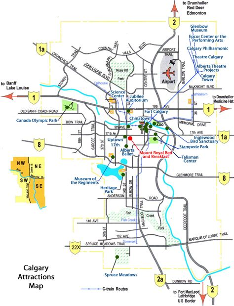 calgary map mount royal bed breakfast nearby attractions and places to visit for calgary banff and
