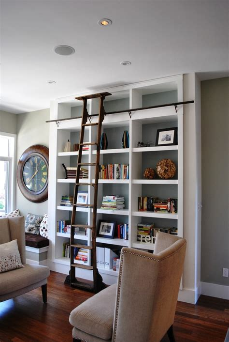 inspired ladder bookcase in living room with