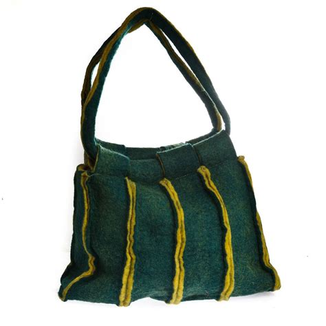 Handmade Felt Bags - handmade felt green stripe bag by felt so