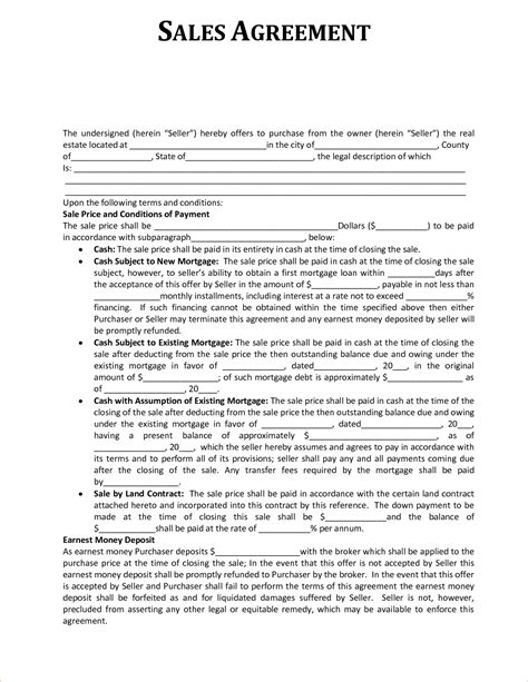 sales contract agreement template 5 sales agreement slereport template document report