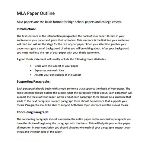 mla format outline template mla outline template 11 free documents in pdf