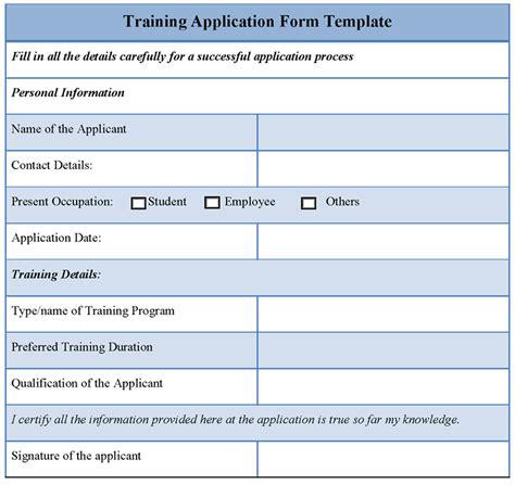 application form template for training template of