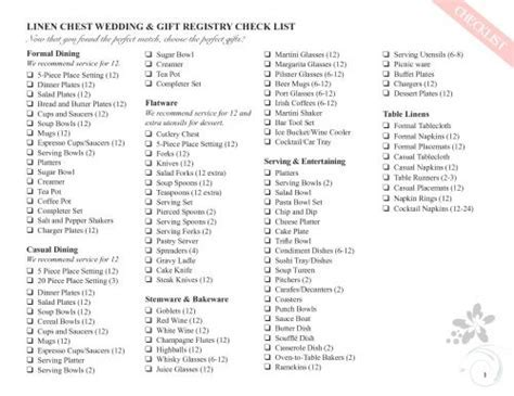 17 Best images about Wedding Registry Checklists on