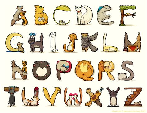 printable animal fonts cat alphabet font cats image credit pepaaminto on