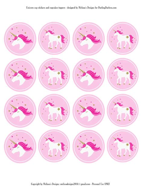 printable unicorn cupcake toppers unicorn stickers cupcake toppers parties upbeat