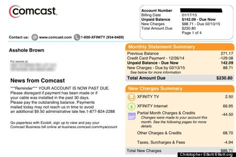 Comcast Apologizes After Changing Customer S Name To Asshole Brown Huffpost Cable Bill Template