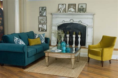 casual fabric living room blue sofa golden green chair set
